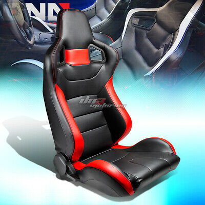 Full Reclinable Black/Red Stripe Pvc Leather Bucket Racing Seat+Slider Right