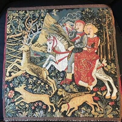 """Vintage Tapestry- Medieval Courtly Love Hunting Scene-18""""x 18""""."""