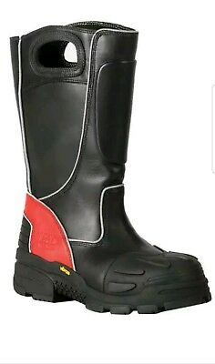 Fire-Dex FDXL100 Red/Black leather Structural fire fighting boot, Size 11 W
