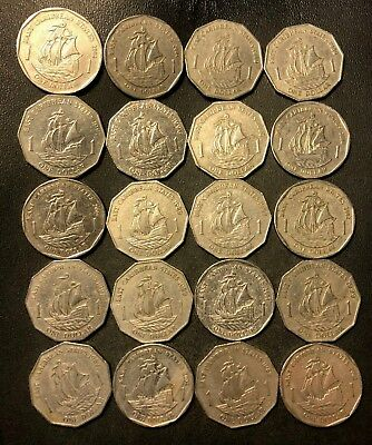 Old Eastern Caribbean States Coin Lot - 20 Uncommon DOLLAR Coins - Lot #D15