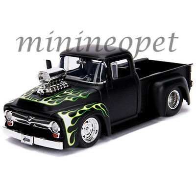 JADA 30716 1956 FORD F-100 BLOWER ENGINE 1/24 MATTE BLACK with GREEN FLAMES