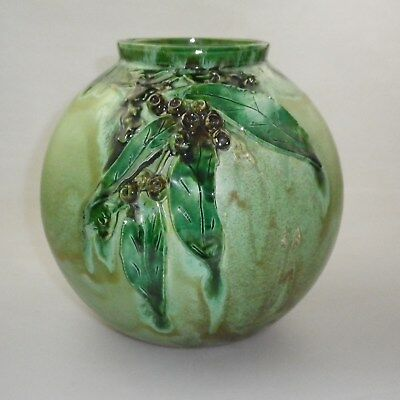 Bill Kirtley Vase Decorated With Applied Gum Leaves And Gum Nuts.