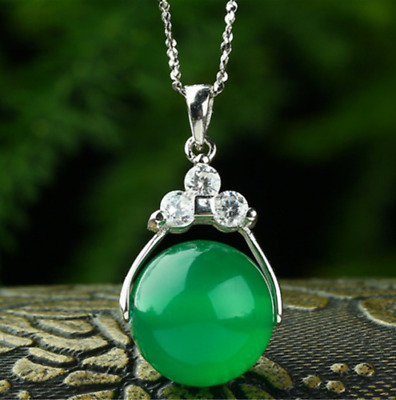 Natural Green Agate Pendant with Silver Plated Chain Woman Girl Bring Good Luck