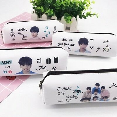 KPOP BTS Bangtan Boys PU Pen Pencil Bag Case Makeup Bag School Stationery