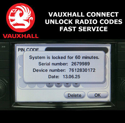 Vauxhall Radio Code Touch & Connect Stereo Codes Corsa/zafira/insignia/opel