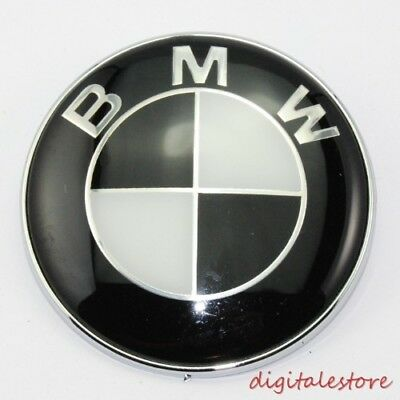 Black Car Emblem Chrome Hood Trunk Badge Logo 82MM For BMW 3 5 7 M3 E39 E46