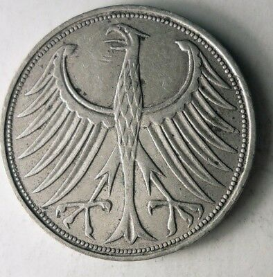 1965 F GERMANY 5 MARKS - High Quality High Value Silver Coin - Lot #D15