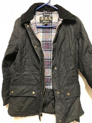 BARBOUR International Quilted Black plaid Waterproof Waxed Cotton Jacket Size 8