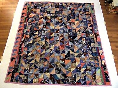 "Antique Handmade Hand Stitched all Silk Fabrics Tied Crazy Quilt - 82"" x 74"""