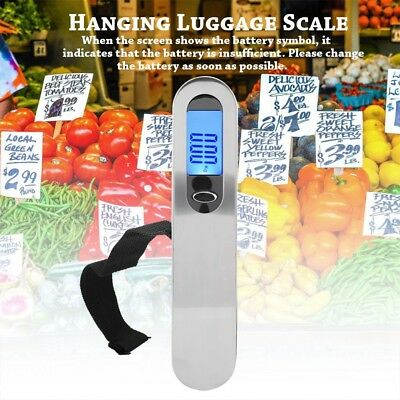 50kg/10g Portable LCD Digital Hanging Luggage Scale Travel Electronic Weight SR