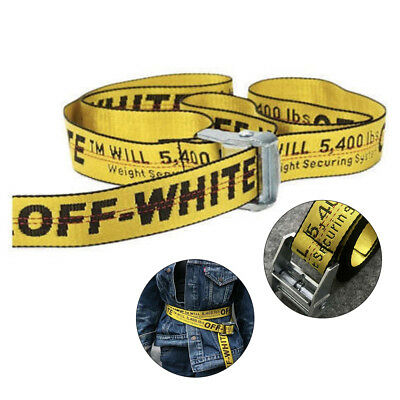AU 200CM Off White Tie Down Yellow Nylon Cotton Big IRON Head Industrial Belt