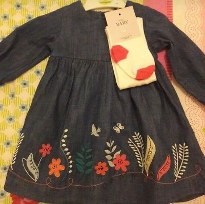M&S baby girl denim dress set 12-18 months NEW with tags RRP£16