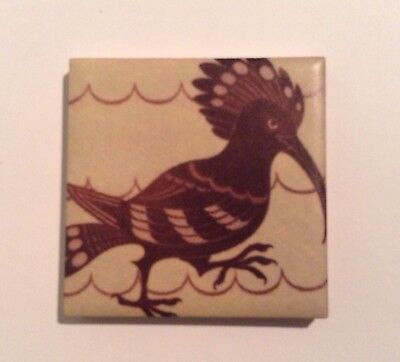 William De Morgan /William Morris Fridge HOOPOE magnet 5cm X 5cm Fired In KIln
