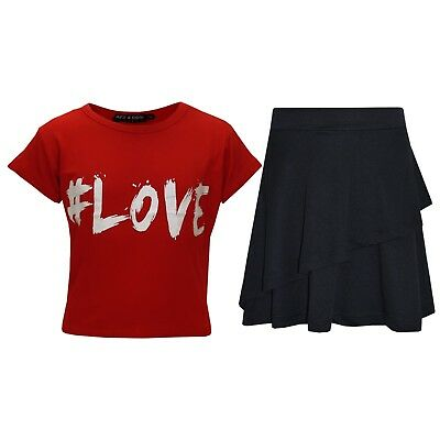 Kids Girls Tops #Love Red Crop Top & Double Layer Skater Skirt Set 7-13 Years