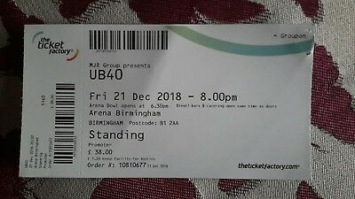 Ub40 Ticket Concert Arena Birmingham December 21 2018   £25.00 Post Sign Nextday