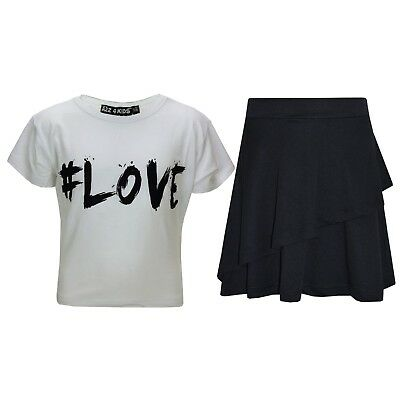 Kids Girls Tops #Love White Crop Top & Double Layer Skater Skirt Set 7-13 Years