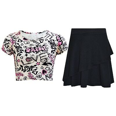 Kids Girls Tops Love Graffiti Crop Top & Double Layer Skater Skirt Set 7-13 Year