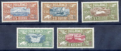 ICELAND 1930 Millenary of Parliament Airmail set of 5 MNH / **