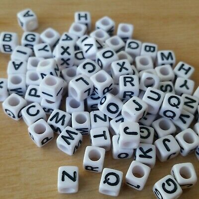 ** FREE SHIPPING ** 250 x Alphabet Letter Cube Beads, 6mm, White & Black