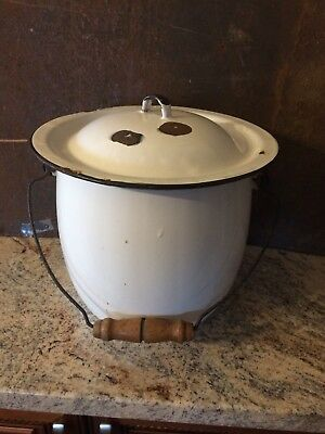 Vintage  White  Porcelain Enamelware Chamber Pot with lid - Commode
