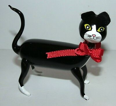 "VTG Cute ITALY Glass Black & White Glass Christmas ""On the Prowl"" Ornament"