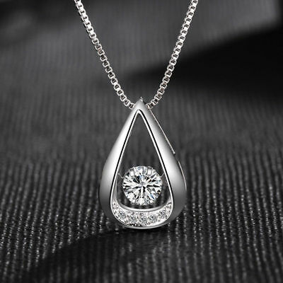 Water Drop Pendant 925 Sterling Silver Necklace Womens Ladies Jewellery Gift