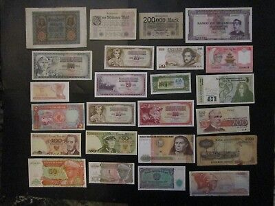 Banknotes Job Lot of 24 World Notes Mixed Condition