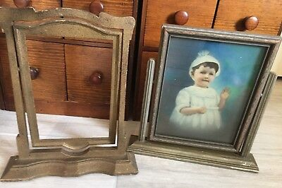 2 Antique Art Deco Wood Tilt/Swivel Picture Frames Easel Style + Baby picture
