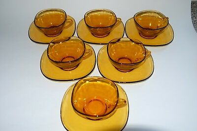 Vereco Retro French Amber Glass Coffee Cups and Saucers Excellent x 6