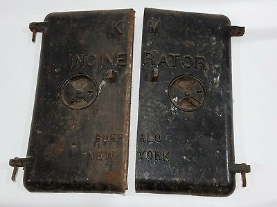 "Vintage Cast Iron KM Incinerator Doors 20"" Buffalo NY Architectural Salvage Pair"