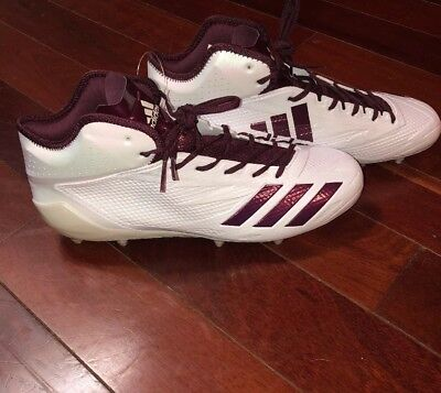 competitive price fb87d d1c57 Adidas Adizero 5-Star 6.0 Mid Football Cleats BW1088 White Maroon New!