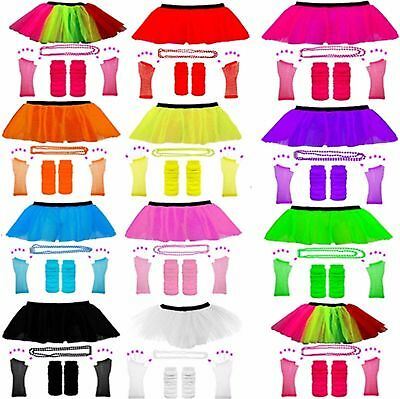 NEW SEXY ADULTS NEON UV 70's 80's GIRLS FANCY DRESS HEN PARTY TUTU COMPLETE SET