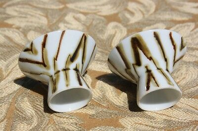 Antique Saki Cup / Dipping Bowl Brown and White Set of 2