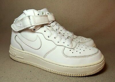 84c839b54d NIKE AIR FORCE 1 MID Junior Triple White Leather Trainers UK Size 5/ EU 38