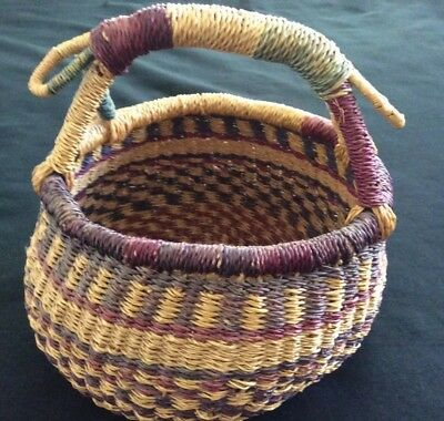 "BOLGA Hand woven Vintage African About 9"" X 10"" Medium Market Basket As is"