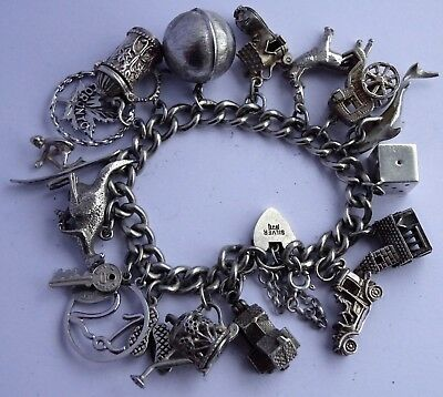 Gorgeous vintage solid sterling silver charm bracelet & 17 charms,rare,open,move