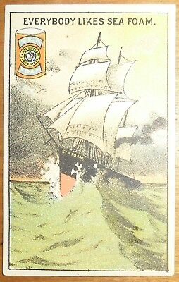 Victorian Trade Card Gantz Jones New York Sea Foam Baking Powder Tall Ship Storm