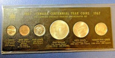 1967 Canada Centennial Coins in Black Folder - UNC