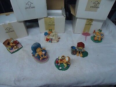 Danbury Mint Lot Of 6 Assorted Garfield Figurines In Boxes