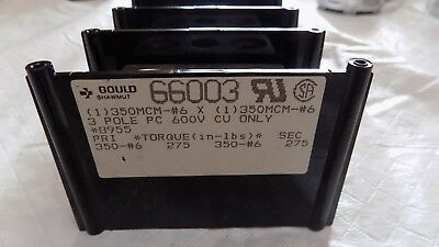 New Gould Shawmut 66003 Power Distribution Block 600V 3 Pole 350
