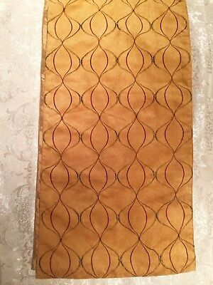 PIER 1 IMPORTS Gold Red Wave Embroidery Faux Suede Holiday Long Table Runner