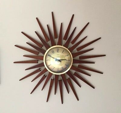 Original Retro Anstey & Wilson Large Sunburst Wall Clock