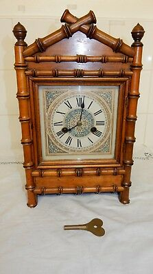 Vintage H.A.C Germany Bamboo Effect 8 day Striking Mantle Clock
