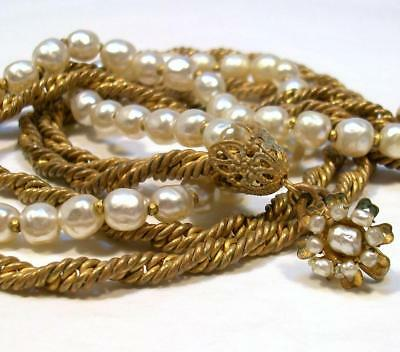 1950's Vintage MIRIAM HASKELL Antique Bronze Chain and Faux Pearl Necklace