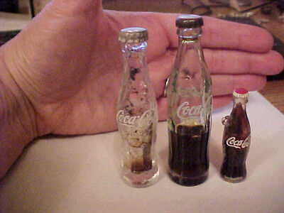 2 different coca cola glass miniature bottles+keychain