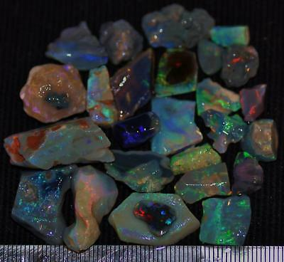 100 Cts Solid Gem Quality Lightning Ridge Rough And Rough Rubbed Opal Parcel 77