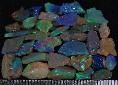 100 Cts Solid Gem Quality Lightning Ridge Rough And Rough Rubbed Opal Parcel 79