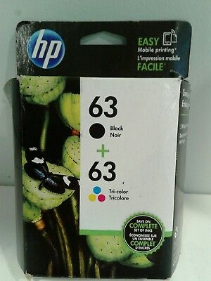 hp 63 Black + 63 Tri-color Ink Cartridge Combo Pack, EXP OCT 2018