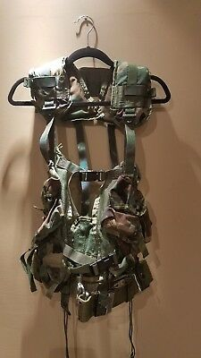 US ARMY TACTICAL LOAD BEARING VEST w D-Rings, Woodland Camo, AND PISTOL BELT!