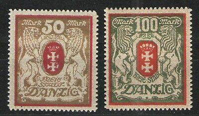 Germany - Danzig 1922 Sc# 94-95 MH F/VF - Inflation era high mark issues